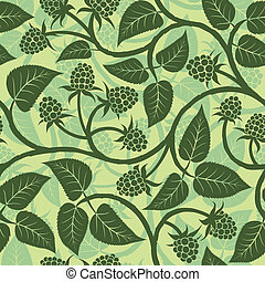 raspberry seamless pattern - raspberry with leaf silhouette...