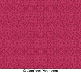 Raspberry seamless poker background with dark red damask pattern and cards symbols