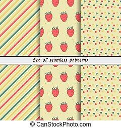 Raspberry, set of seamless patterns