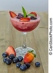 Raspberry smoothie with fresh berries