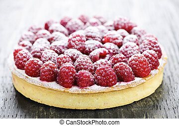 Raspberry tart - Fresh dessert fruit tart covered in...