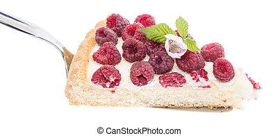 Raspberry Tart on lifter against white background