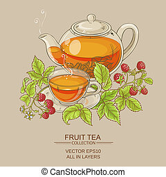 raspberry tea illustration - illustration with cup of...