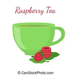 Raspberry tea in cup with berries. Healthy organic natural fruit tea