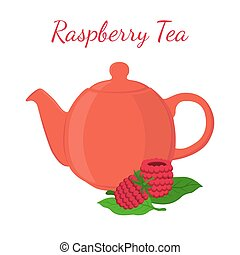 Raspberry tea in teapot with berries. Healthy organic natural fruit tea