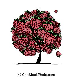 Raspberry tree, sketch for your design. Vector illustration