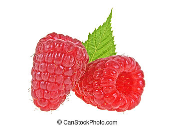 Raspberry with leaf isolated on a white background