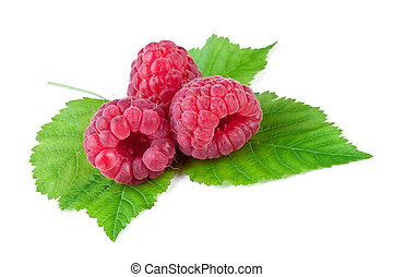 raspberry with leaf isolated on white background