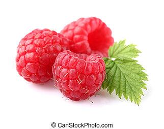 Raspberry with leaf