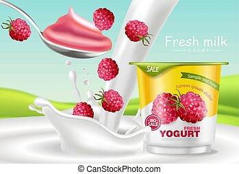 Raspberry yogurt Vector realistic. Product placement mock up. Fresh yogurt splash with fruits. Label design. 3d detailed illustrations
