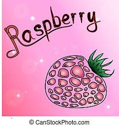 raspberry.the magenta background of schematically drawn raspberries