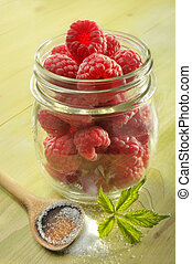 raspeberries and sugar