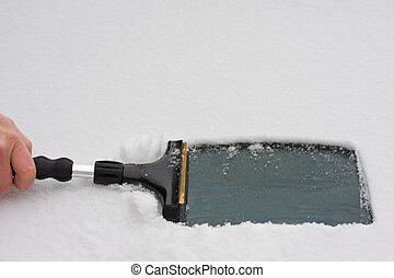 rasqueta, hielo, mano
