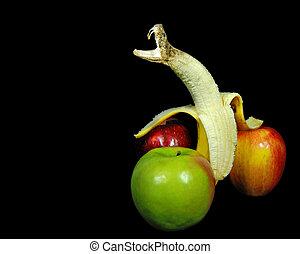 rasseln, heraus, schlange, morphing, banane