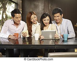 rassemblement, café, amis