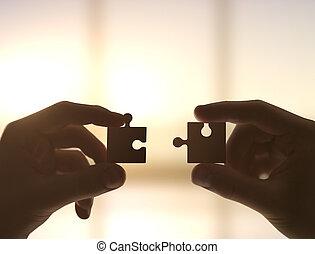 rassembler, puzzle, mains