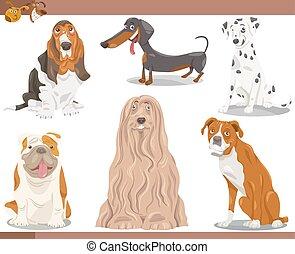 rassen, satz, karikatur, abbildung, hund