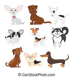 rassen, vektor, satz, karikatur, hund