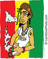 rasta - Illustration of a rastaman