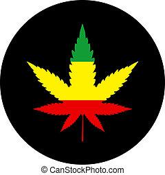 Rasta colors marijuana sign