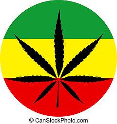 Rasta colors marijuana sign vector