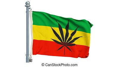 Rasta Flag, Cannabis leaf on Rastafarian flag waving on ...
