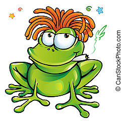 rasta frog cartoon - 