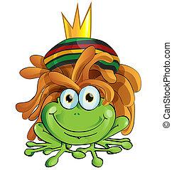 rasta frog cartoon isolate on white