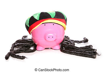 rasta, giamaicano, raggae, banca, piggy