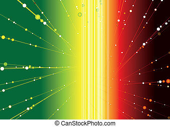 rasta glow - Abstract space image with radiating balls...