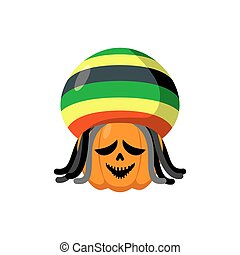 Rasta Halloween. Rastaman hat and dreadlocks. Pumpkin for Rastafarians. Symbol terrible holiday in Jamaican style