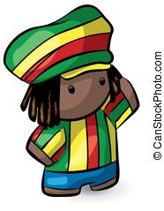 Rasta Hat Rastafarian Cute Dreadlocks Character - A...
