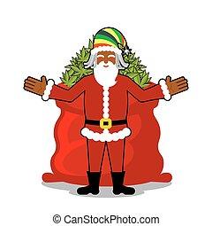 Rasta Santa Claus wishes. Big Red sack hemp. Bag of marijuana. Pile of green cannabis. Smoking drug. Cheerful grandfather with dreadlocks and Rastafarian hat. New Year in Jamaica