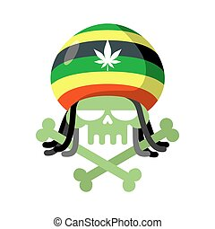 Rasta skull with dreadlocks and Rasta Cap. Green head skeleton with bones. Logo for Halloween. Emblem for drugs flag