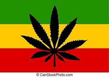 Rastafari flag with cannabis leaf