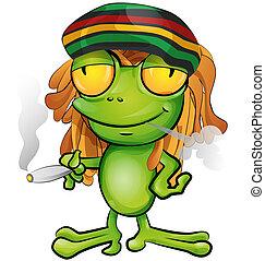 rastafarian, 漫画, カエル, 隔離された