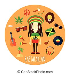 Rastafarian Character Accessories Flat Round Illustration