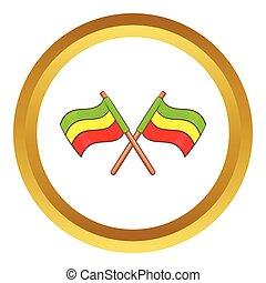 Rastafarian crossed flags vector icon
