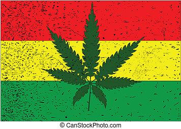 Rastafarian Flag - Rastafarian flag with hemp leaf motif and...