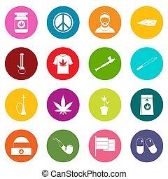 rastafarian, iconos, muchos colores, conjunto