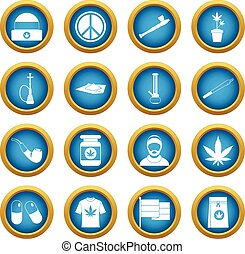 Rastafarian icons blue circle set