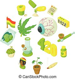 Rastafarian icons set, cartoon style