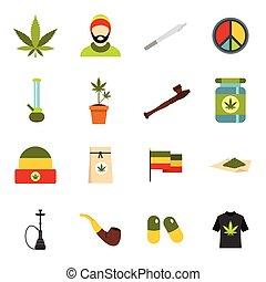 Rastafarian icons set, flat style