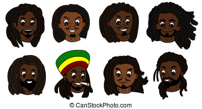Rastafarian men faces - Variety of rasta people heads...