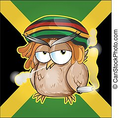 Rastafarian owl cartoon