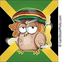 Rastafarian owl cartoon