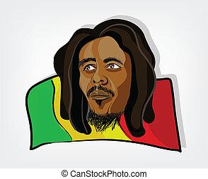 rastafarian, rasta, イラスト, 旗, jamaican, man., 人