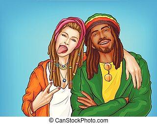Rastafarian subculture people pop art vector - Rastafarian...