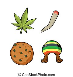rastaman, foglia, rastafarian, rasta, icone, spliff., set., marijuana, o, articolazione, giamaicano, reggie, verde, objects., cappello, simbolo, signs., cookie.