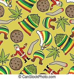 Rastaman pattern. Rasta Santa Claus ornament. Big sack of cannabis. bag of marijuana. Pile of green cannabis. Large joint or spliff. Smoking dope. Cheerful grandfather and Rastafarian hat. New Year in Jamaica